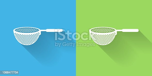 Drainer Icon with Long Shadow. The icon is on Blue Green Background with Long Shadow. There are two background color variations included in this file. The icon is rendered in white color and the background is blue or green. There is also a 45 degree long shadow.