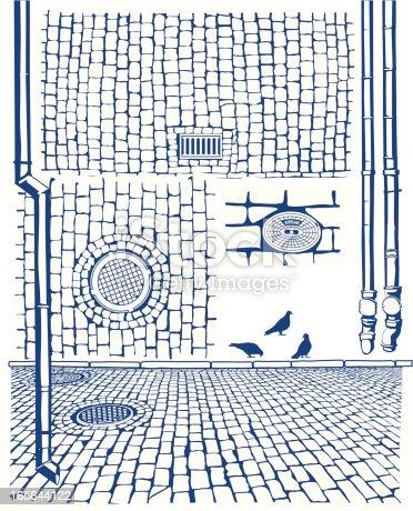 Cobbles, drains. Old city textures & shapes.