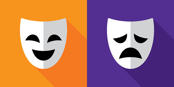 Drama Comedy Mask Icons Flat Stock Illustration - Download ...