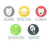 Drama, detective, comedy, adventure, horror film logo web button. Types of film logos isolated on white. Movie genre elements, vector infographic icons. Movie genres symbols set. Vector illustration