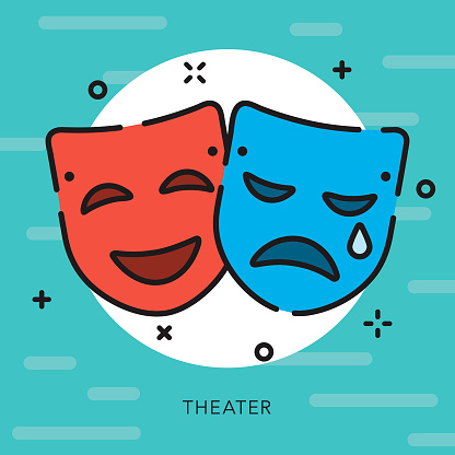 Drama Masks Open Outline Arts & Culture Icon