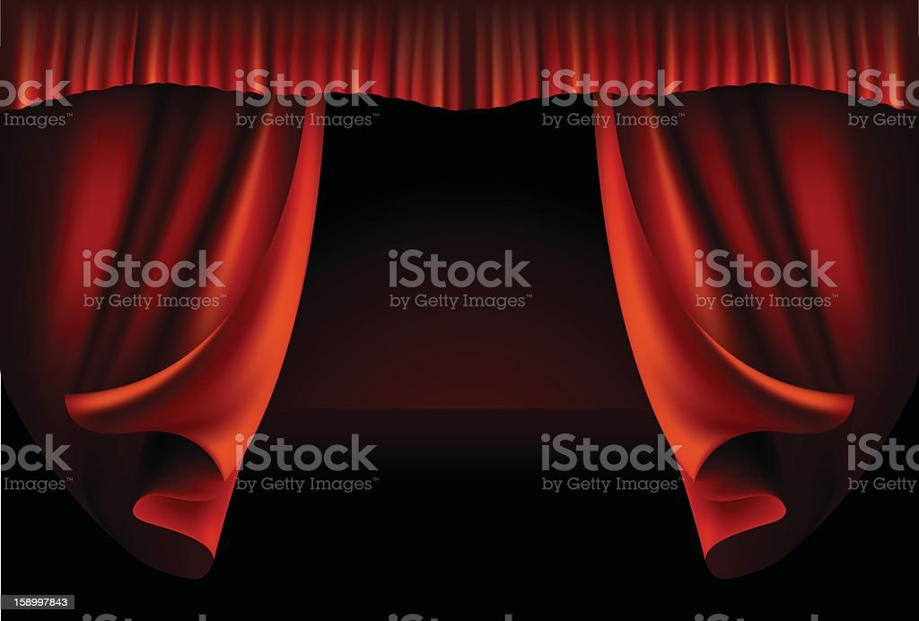 Dramatic Red Curtain Opening For A Play Performance Vector Art Illustration