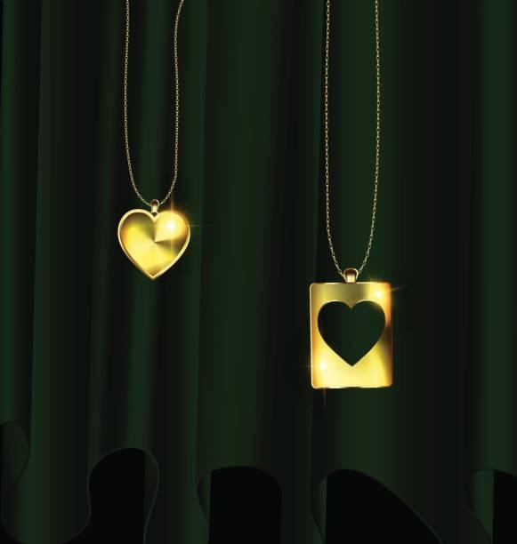 drapieren und goldenen anhänger der zwei herzen - perlenweben stock-grafiken, -clipart, -cartoons und -symbole