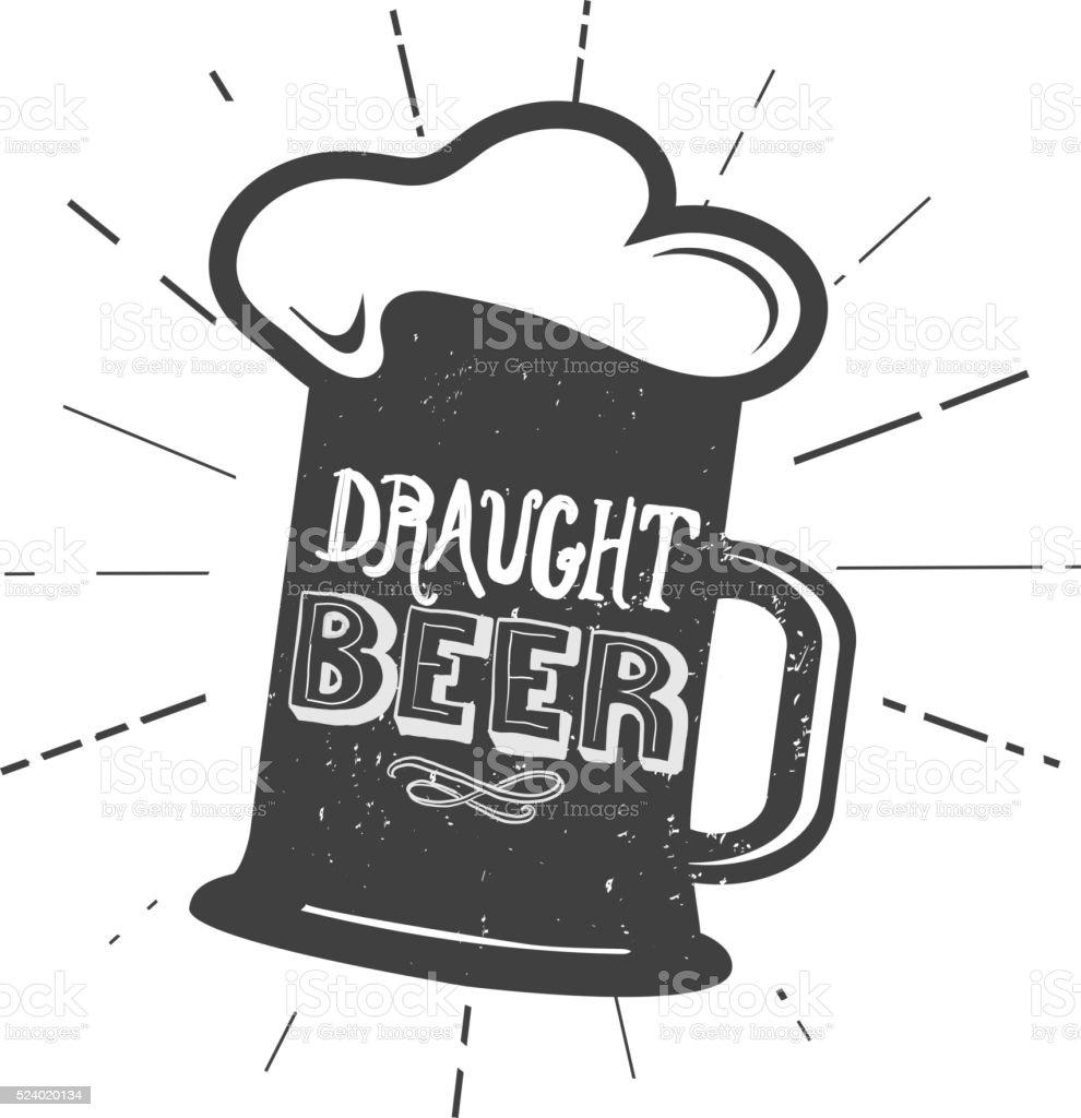 Draught beer mug label hand lettering design vector art illustration