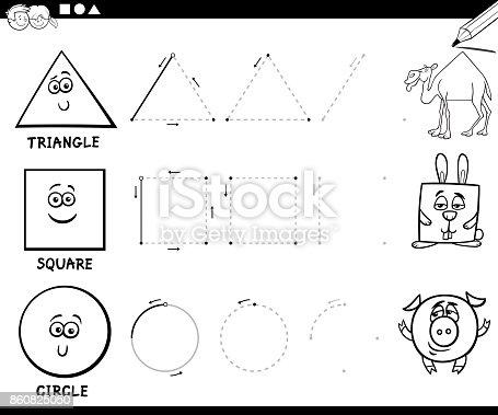 Sayfa Boyama Temel Geometrik şekiller çizmek Stok Vektör Sanatı