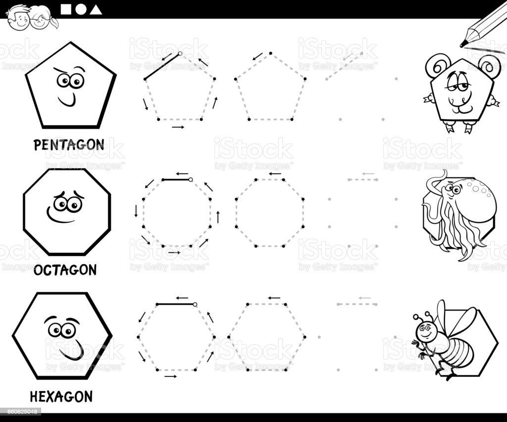 draw geometric shapes coloring page stock vector art more images