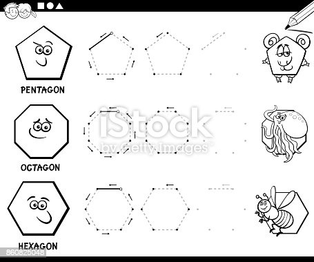 Draw Geometric Shapes Coloring Page Stock Vector Art