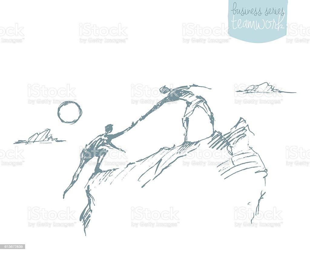 Attirer l'homme grimper le travail d'équipe aidant partenariat croquis - Illustration vectorielle