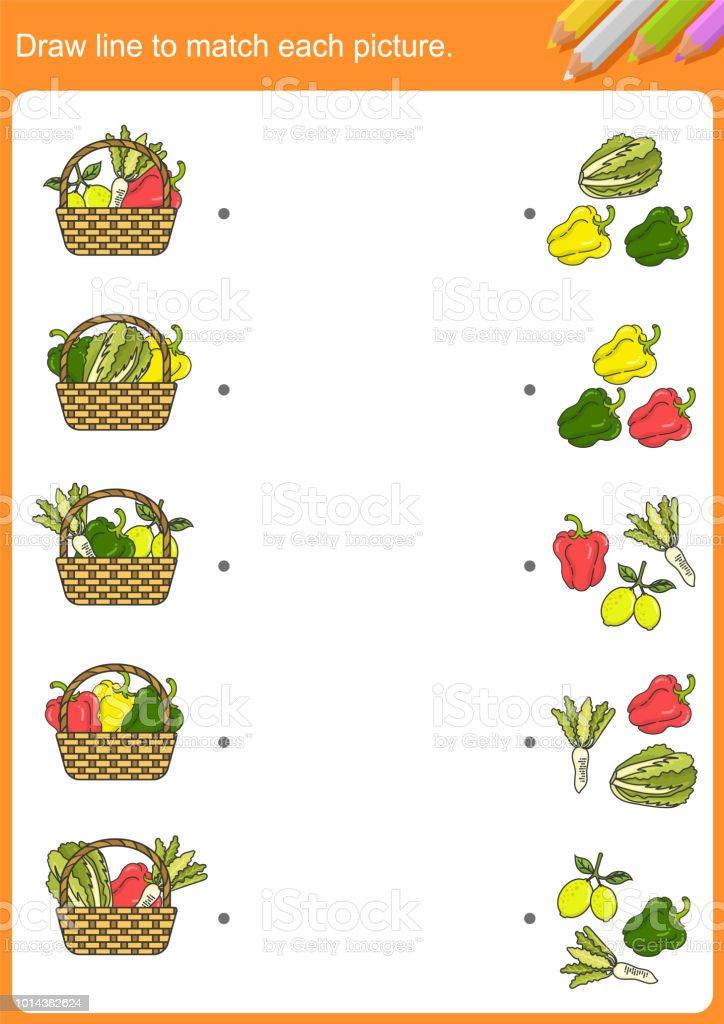 Ilustración de Dibujar La Línea Para Que Coincida Con Cada Imagen Y ...