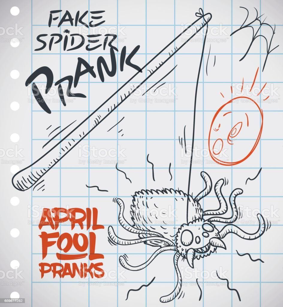 Draw of Fake Spider Prank Ready for April Fools' Day vector art illustration