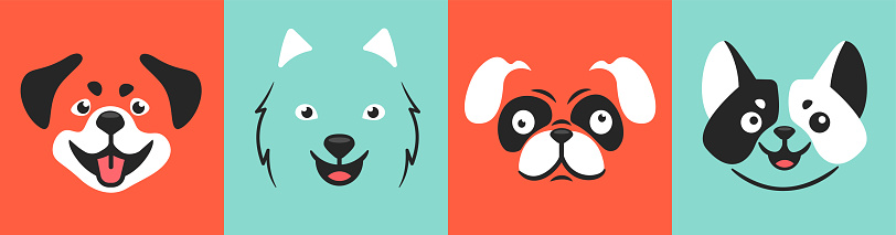 Draw vector dog face illustration vector set