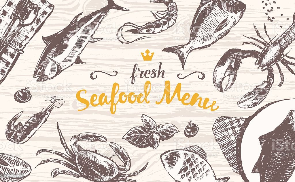 Draw vector seafood fish wooden table top sketch vector art illustration