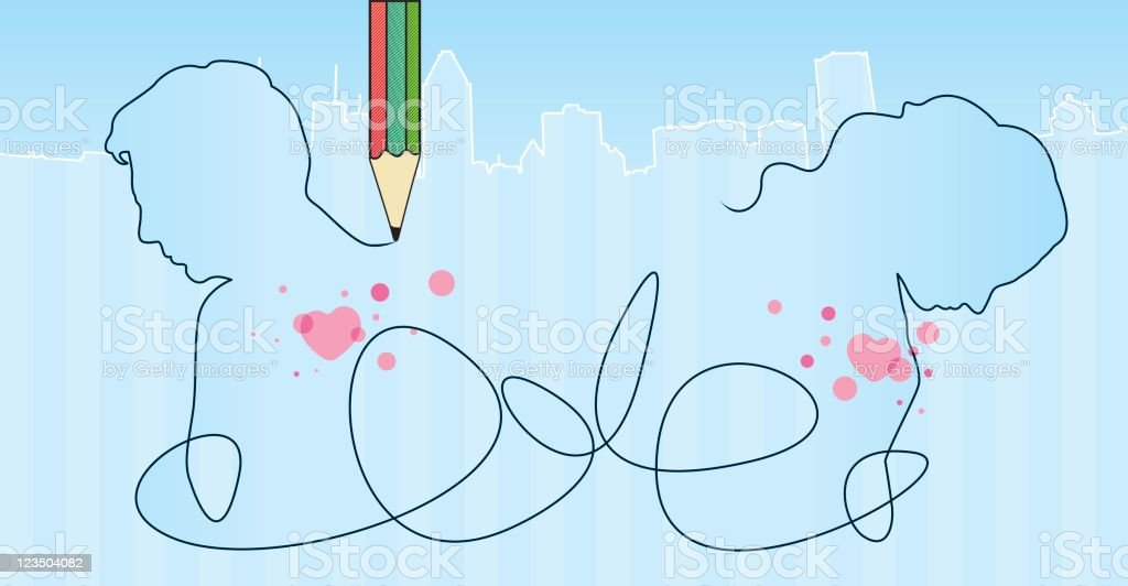 Drawing a love vector art illustration
