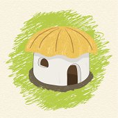 Drawing african hut on background