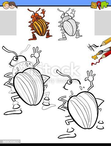 Zeichnung Und Färbung Aktivität Mit Kartoffelkäfer Stock Vektor Art ...