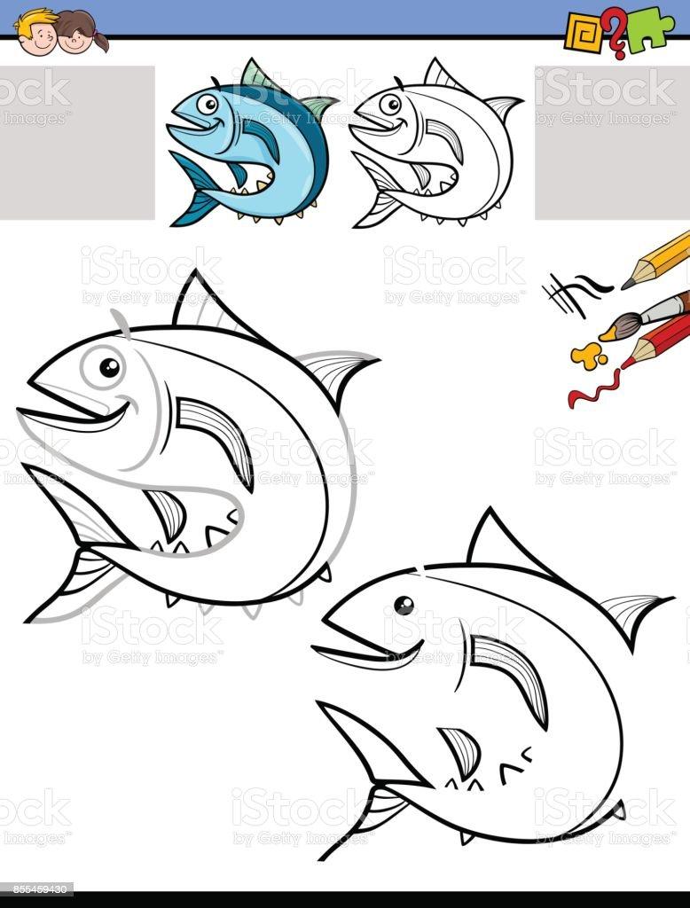 Zeichnung Und Färbung Arbeitsblatt Mit Fisch Stock Vektor Art und ...