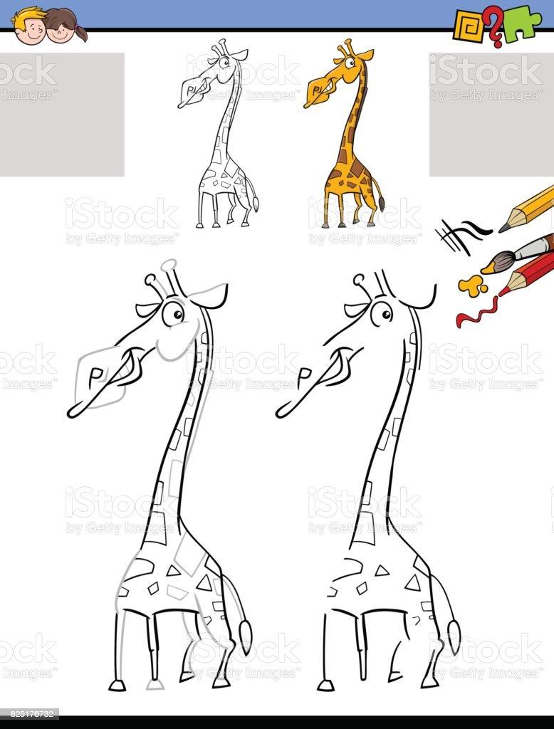 Zeichnung Und Färbung Arbeitsblatt Mit Giraffe Stock Vektor Art und ...