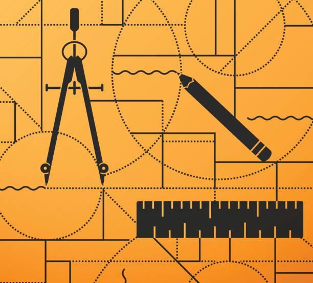 Dibujo y diseño de regla compás lápiz fondo - ilustración de arte vectorial