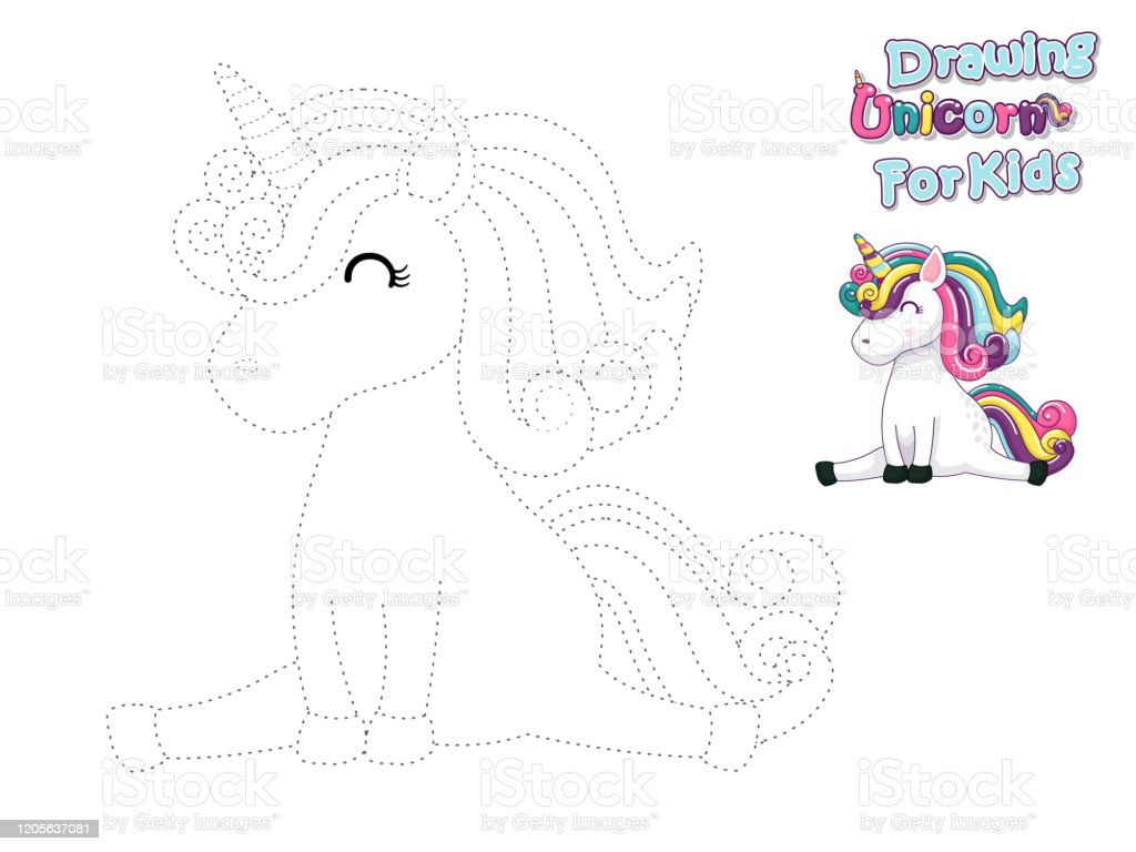 Drawing And Paint Cute Cartoon Unicorn Educational Game For Kids Vector Illustration With Cartoon Animal Characters Stock Illustration Download Image Now Istock