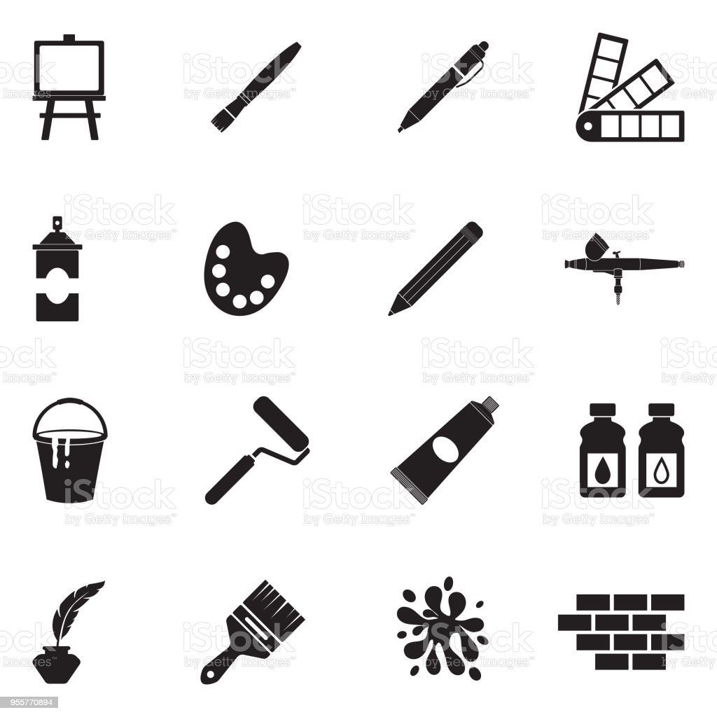 Drawing And Painting Icons. Black Flat Design. Vector Illustration. vector art illustration