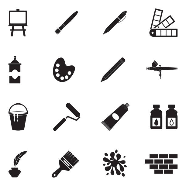 drawing and painting icons. black flat design. vector illustration. - art and craft stock illustrations