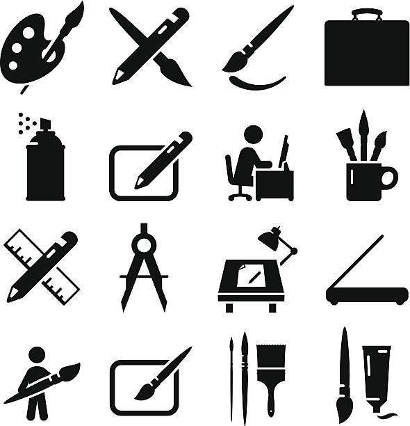 illustrations, cliparts, dessins animés et icônes de le dessin et la peinture d'icônes-noir série - art
