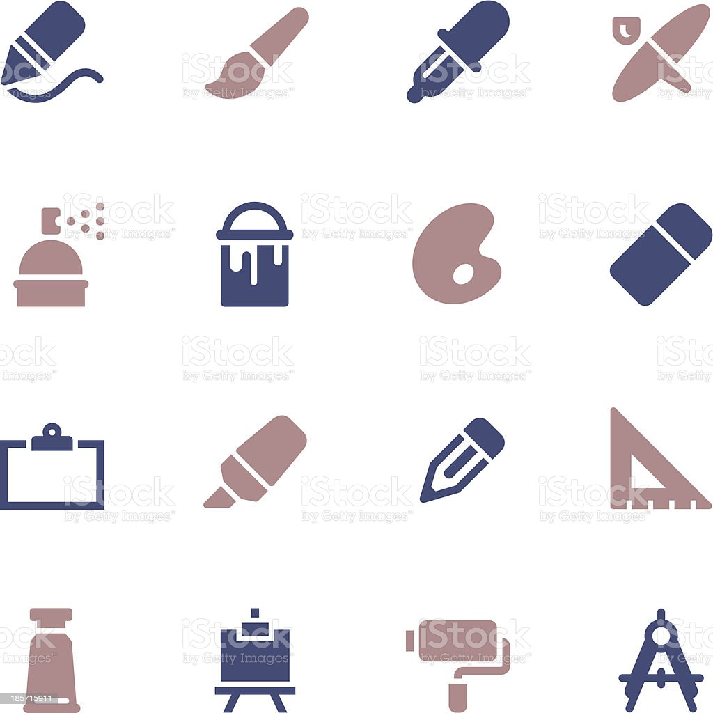 Drawing and Painting Icons - Color Series royalty-free stock vector art