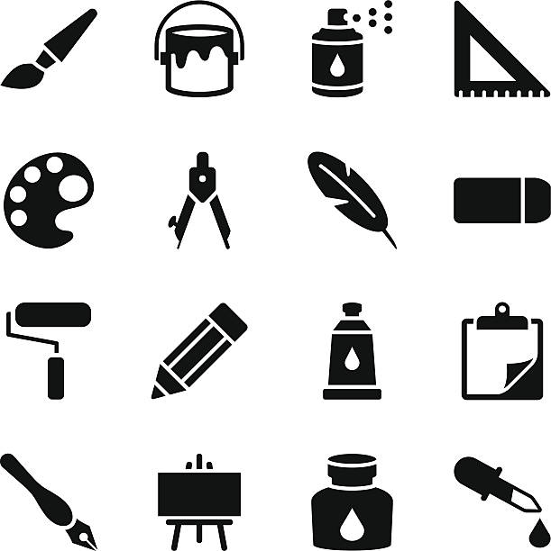 Drawing and Painting Icons Vector File of Drawing and Painting related vector icons for your design or application. paint can stock illustrations