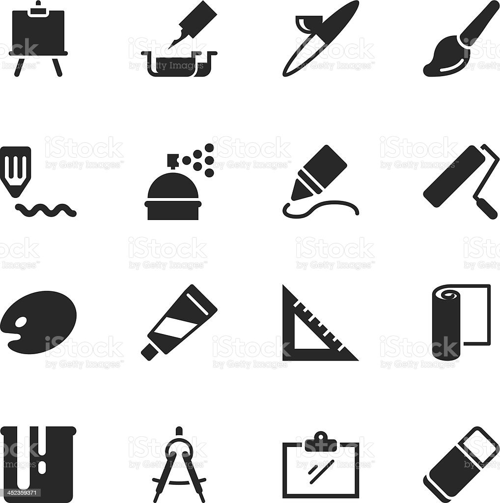 Drawing and Painting Silhouette Icons royalty-free stock vector art