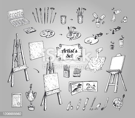 Drawing supplies or tools for artist. Vector set