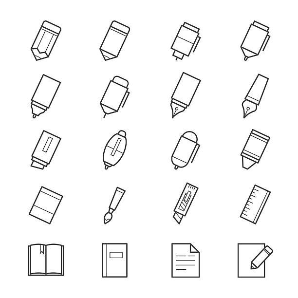ilustrações, clipart, desenhos animados e ícones de escrita ferramentas de desenho e pintura de ícones - fontes e tipografia