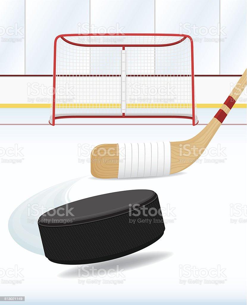 A drawing art of hockey and stuff vector art illustration