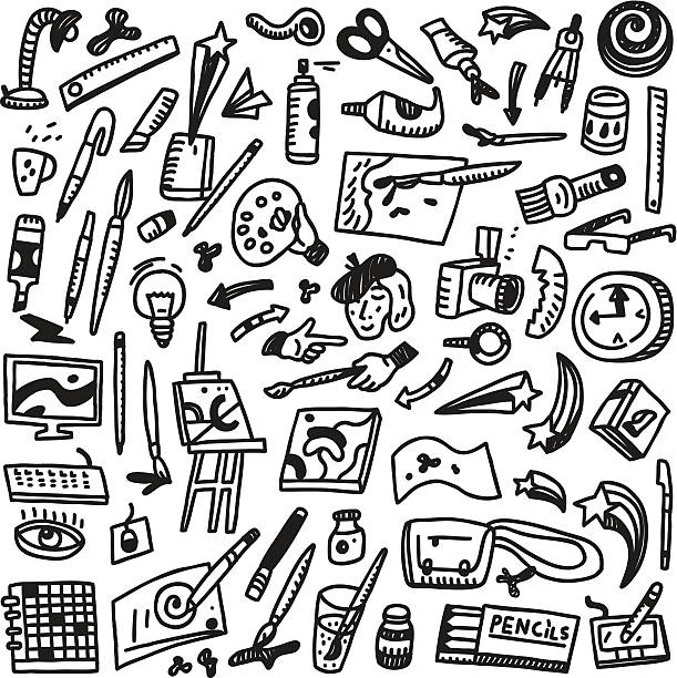 malen, kunst-tools-kritzeleien - filzarbeiten stock-grafiken, -clipart, -cartoons und -symbole