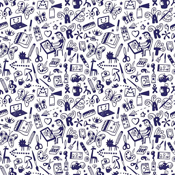 illustrazioni stock, clip art, cartoni animati e icone di tendenza di drawing , art tools - seamless background - sfondo scarabocchi e fatti a mano