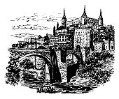 drawing background landscape view of Toledo, Spain