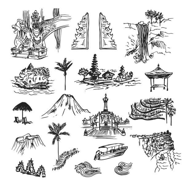 wahrzeichen von bali - denpasar stock-grafiken, -clipart, -cartoons und -symbole