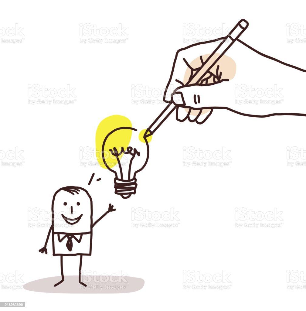 Zeichnen Große Hand Cartoon Geschäftsmann Mit Glühbirne