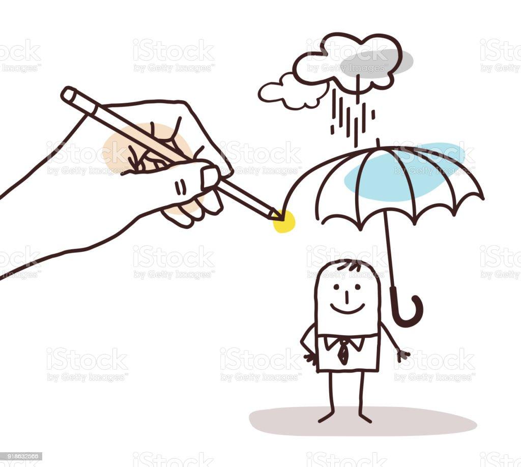 Grosse main de dessin dessin animé homme au parapluie grosse main de dessin dessin animé