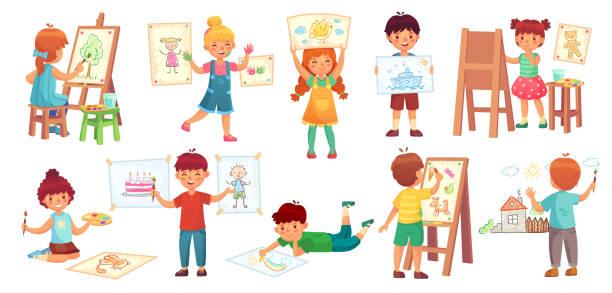 illustrazioni stock, clip art, cartoni animati e icone di tendenza di disegnare bambini. illustratore per bambini, gioco di disegno per bambini e illustrazione vettoriale di cartoni animati di gruppo per bambini - quadro
