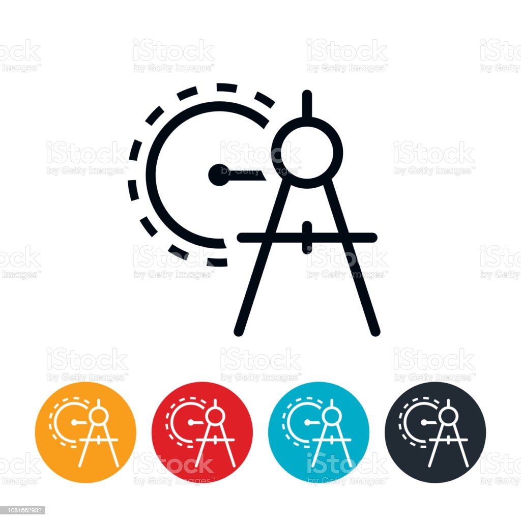 Drawing Compass Icon vector art illustration
