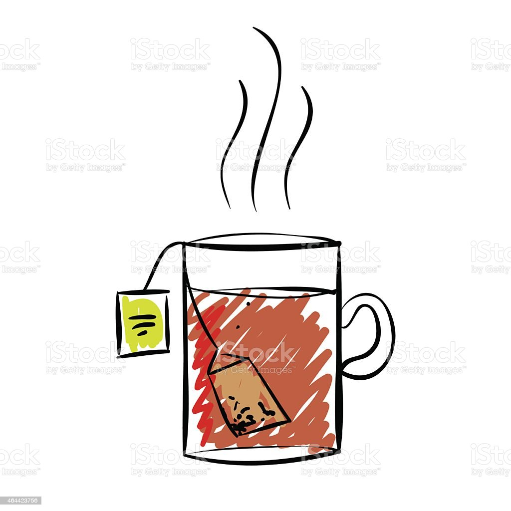 drawing cup of tea isolated on white stock illustration download image now istock https www istockphoto com vector drawing cup of tea isolated on white gm464423756 58699338