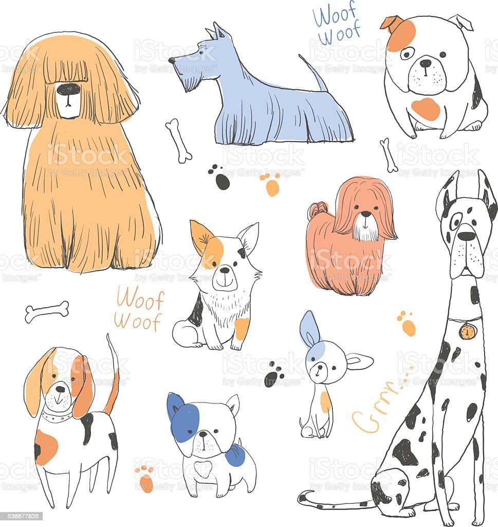 Drawing cute dogs set vector art illustration