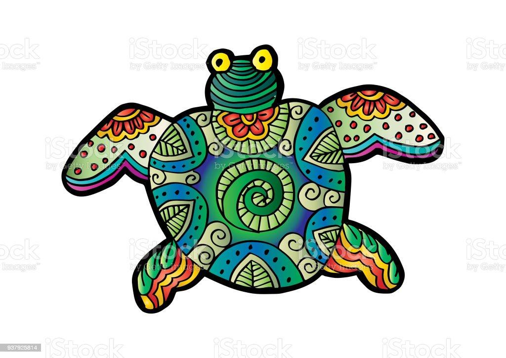 Dekoratif Kaplumbağa çizim Stok Vektör Sanatı Akuatik Organizma