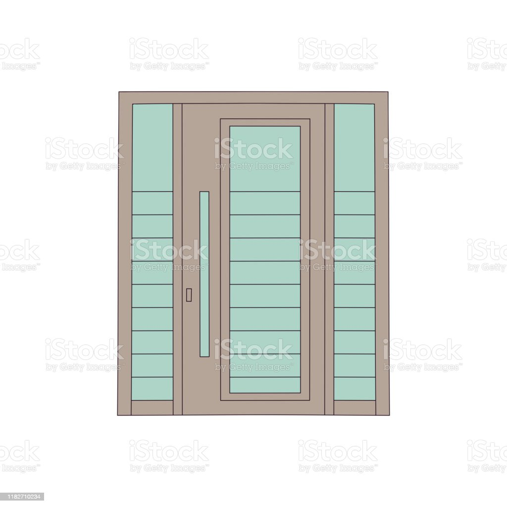 Drawing Door Of House And Building With Glasses In Modern Design Stock Illustration Download Image Now Istock