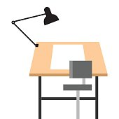 Drawing drafting table with chair