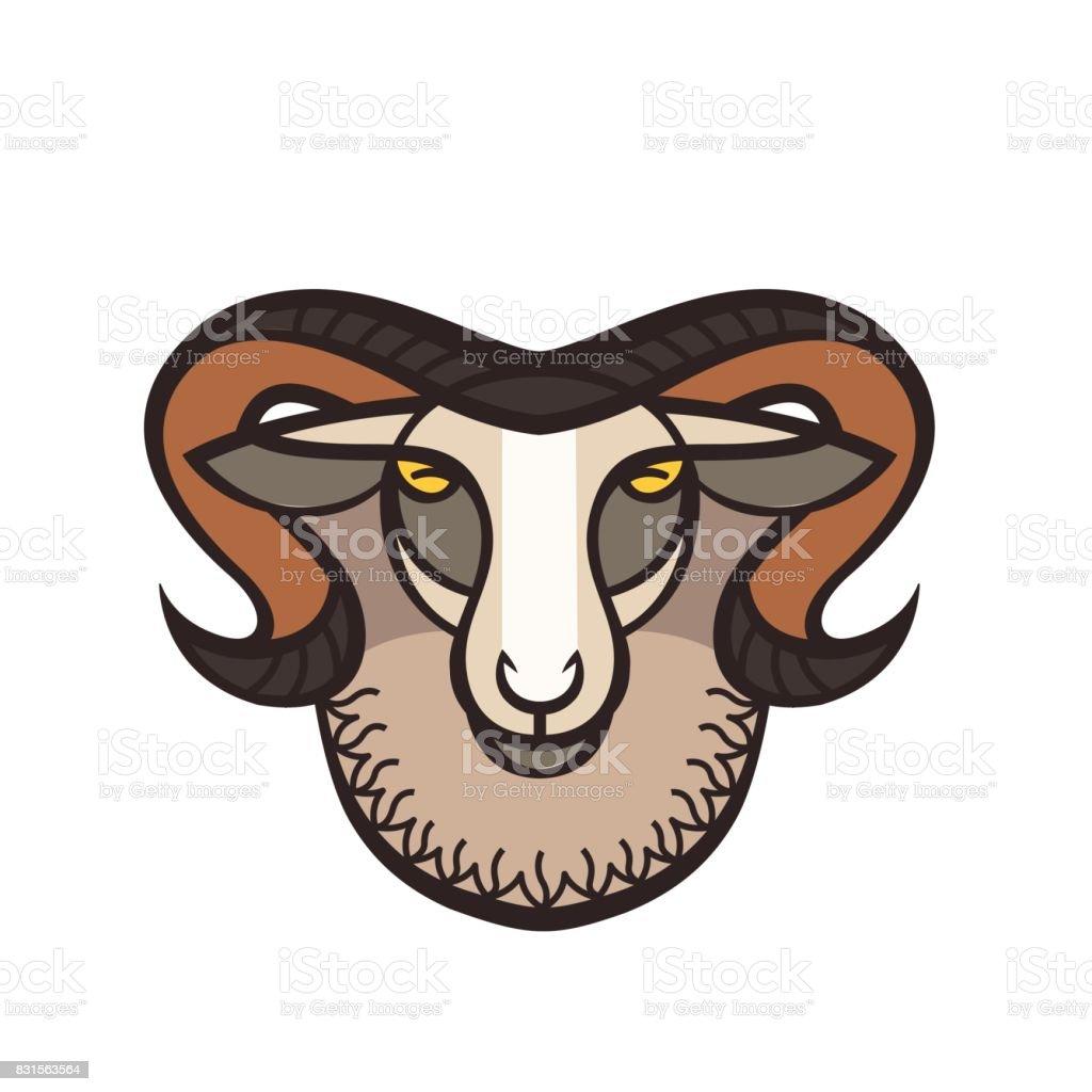 Drawing head of ram – artystyczna grafika wektorowa