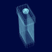 Wireframe of a high-rise building in isometry. Polygonal building of blue lines. Vector illustration.