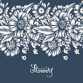 Seamless drawing with flowers.  Ink in the style of antique engraving.  Vintage style. Vector illustration.