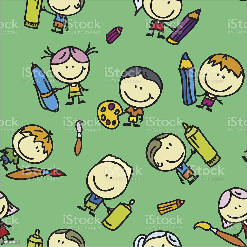 Drawing kids pattern royalty-free drawing kids pattern stock vector art & more images of art