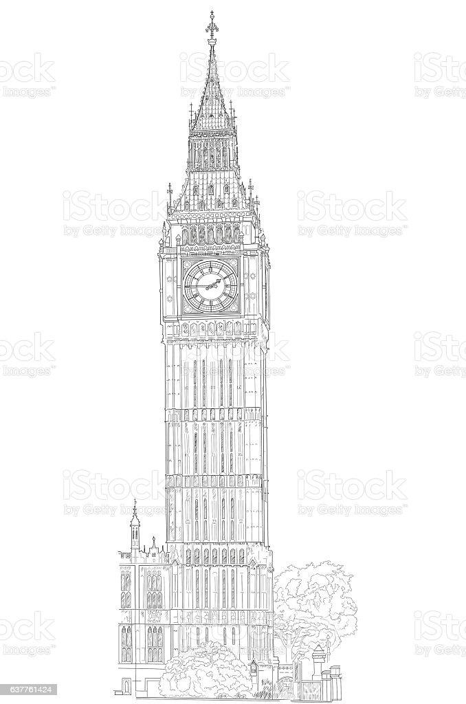 drawing London Big Ben vector art illustration
